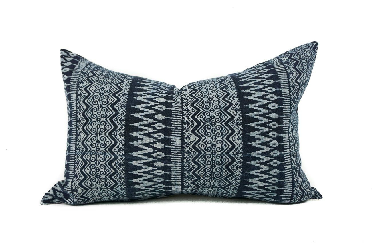 Hmong I Lumbar Pillow Cover Blue Pillows Pillows Pillow Covers