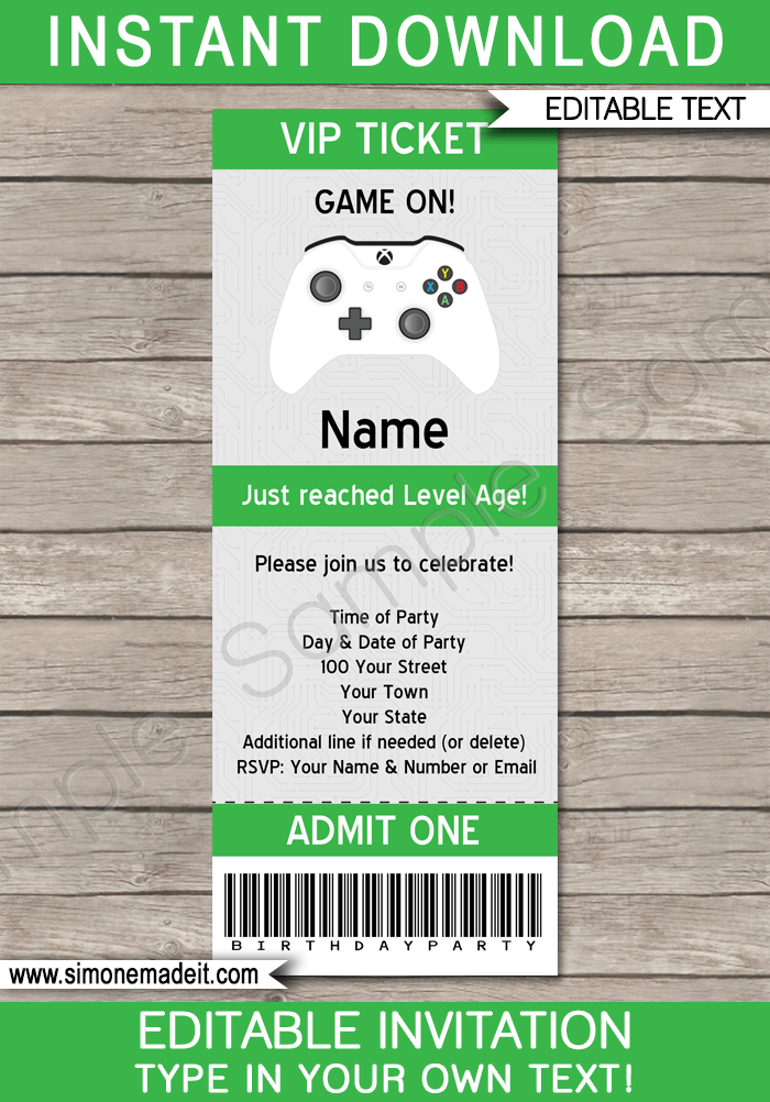 Xbox Party Ticket Invitation Template Video Game Birthday Party Gamer Theme Editable Printable Diy Te Xbox Party Ticket Party Invitations Party Tickets