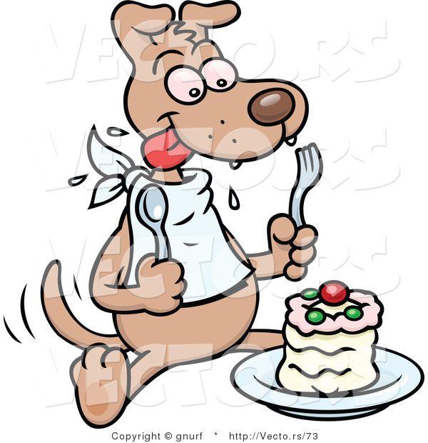 Happy Dog Preparing To Eat Cake Happy Cartoon Cartoon Dog Cartoon Illustration