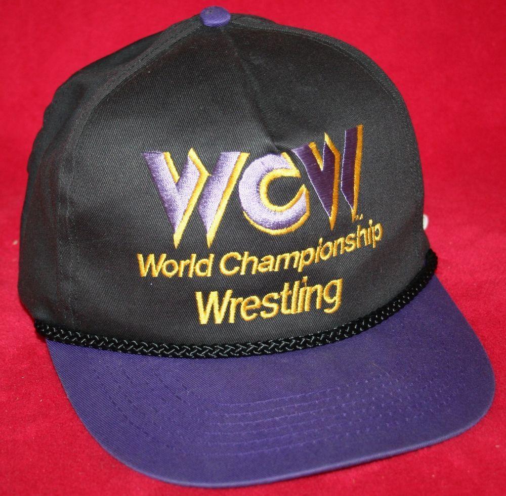 56177019619 Vintage 90s WCW World Championship Wresting Snapback HAT CAP NWA WWE WWF   Unbranded  BaseballCap
