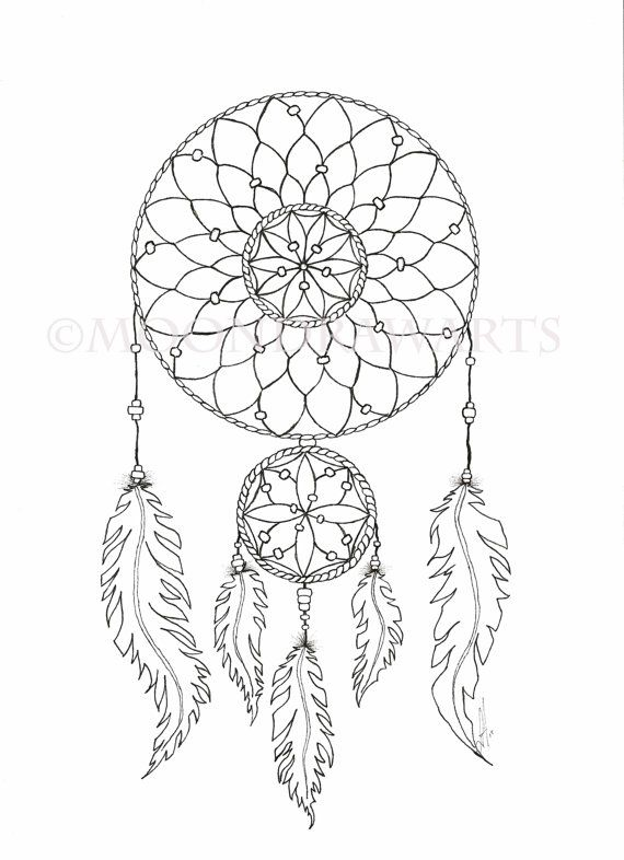 Dream catcher printable coloring page adult by for Dreamcatcher tattoo template