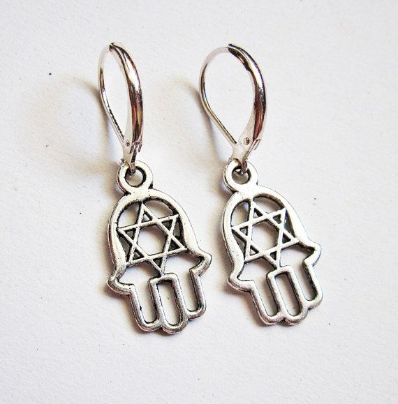 Hamsa Earrings, silver Hamsa charms, Hamsa jewelry, Jewish
