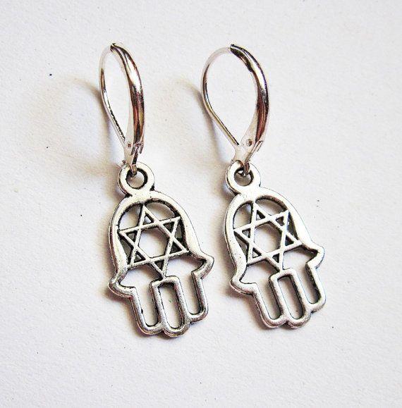 Hamsa Earrings, silver Hamsa charms, Hamsa jewelry, Jewish