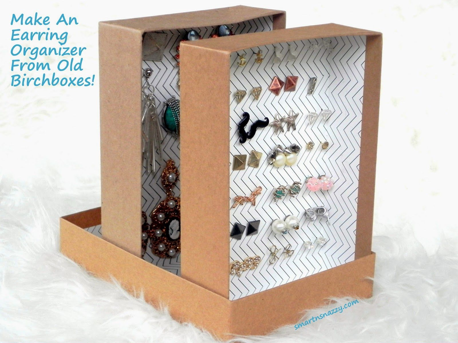 Diy Upcycled Birchboxes Into Earring Organizer Shoe Box Crafts Diy Earring Holder Shoe Box Diy