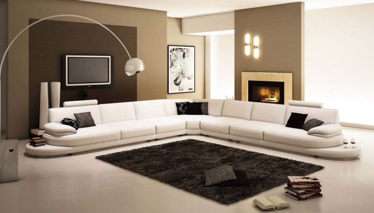 954 Contemporary White Italian Leather Sectional Sofa : modern sofas and sectionals - Sectionals, Sofas & Couches