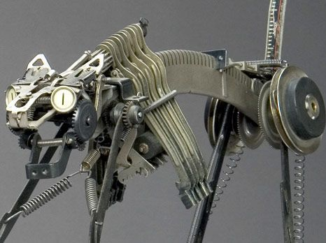 WebUrbanist has another wonderful round-up of recycled art - this batch is all from obsolete technology. My favorite is this dangerous-looking cat by Jeremy Meyer - it looks like it's made mostly from typewriter parts.