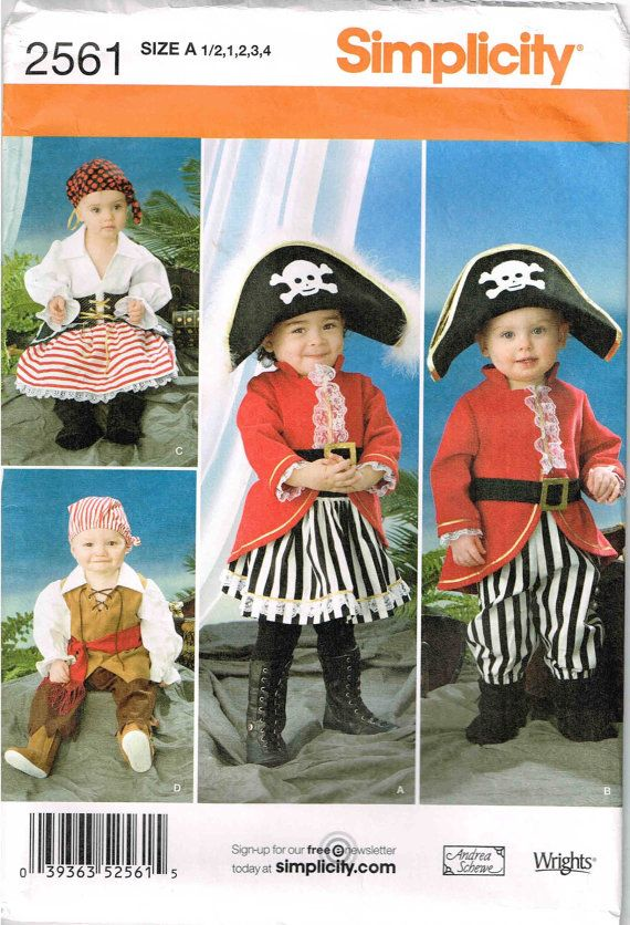 Toddler Pirate Top Pants Skirt Hat Halloween Costume Sewing Pattern ...
