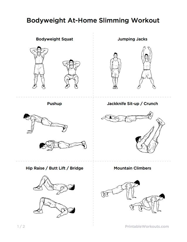 Bodyweight At Home Full Body Slimming Printable Workout For Men Women