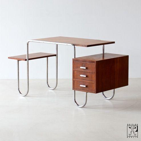 Tubular steel desk 1930s Bauhaus manufactured by