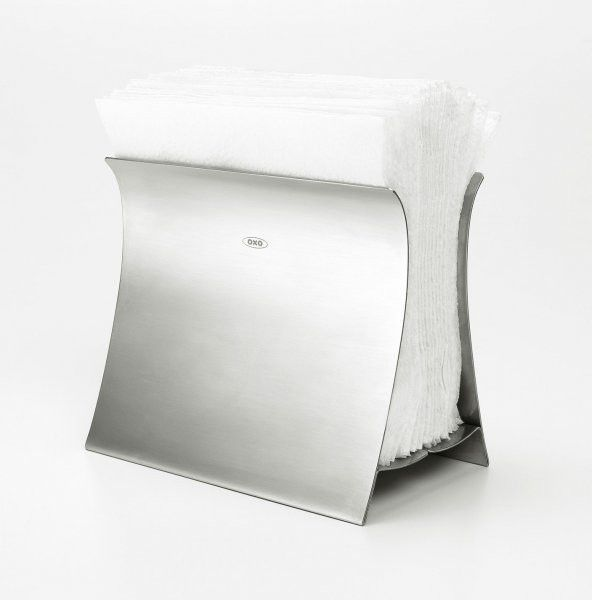"""Napkin Pinch, Brushed Stainless (Stainless Steel) (6.5""""H x 12.5""""W x 2.5""""D)"""