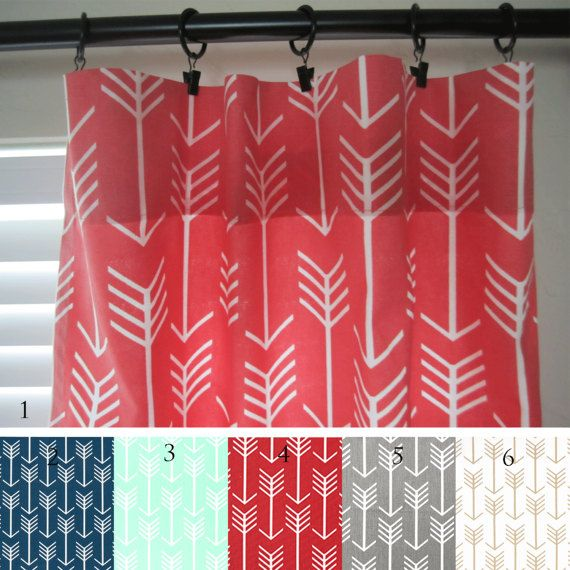 Arrow Curtain Panels Coral Navy Mint Red Gray Gold Pair | Living ...
