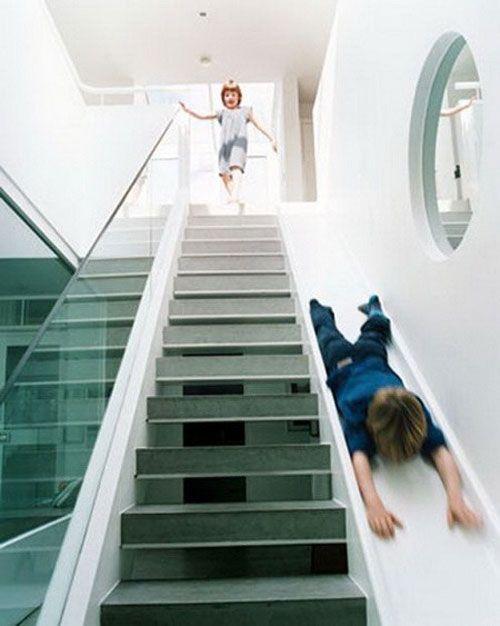 Oooooh! A slide beside the stairs! How fun! Perhaps a bit wider ...