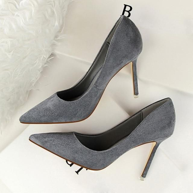 03fd4a059c62 HZXINLIVE Women Pumps Faux Suede Basic High Heels Shoes Woman Solid Colors  2018 Slip On High