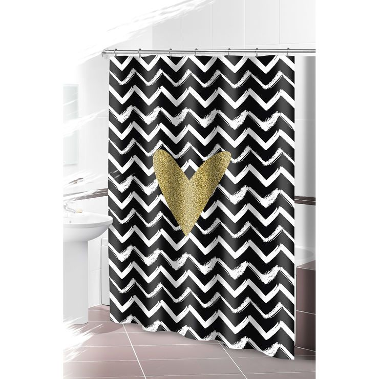Black Gold Chevron Shower Curtain With Heart