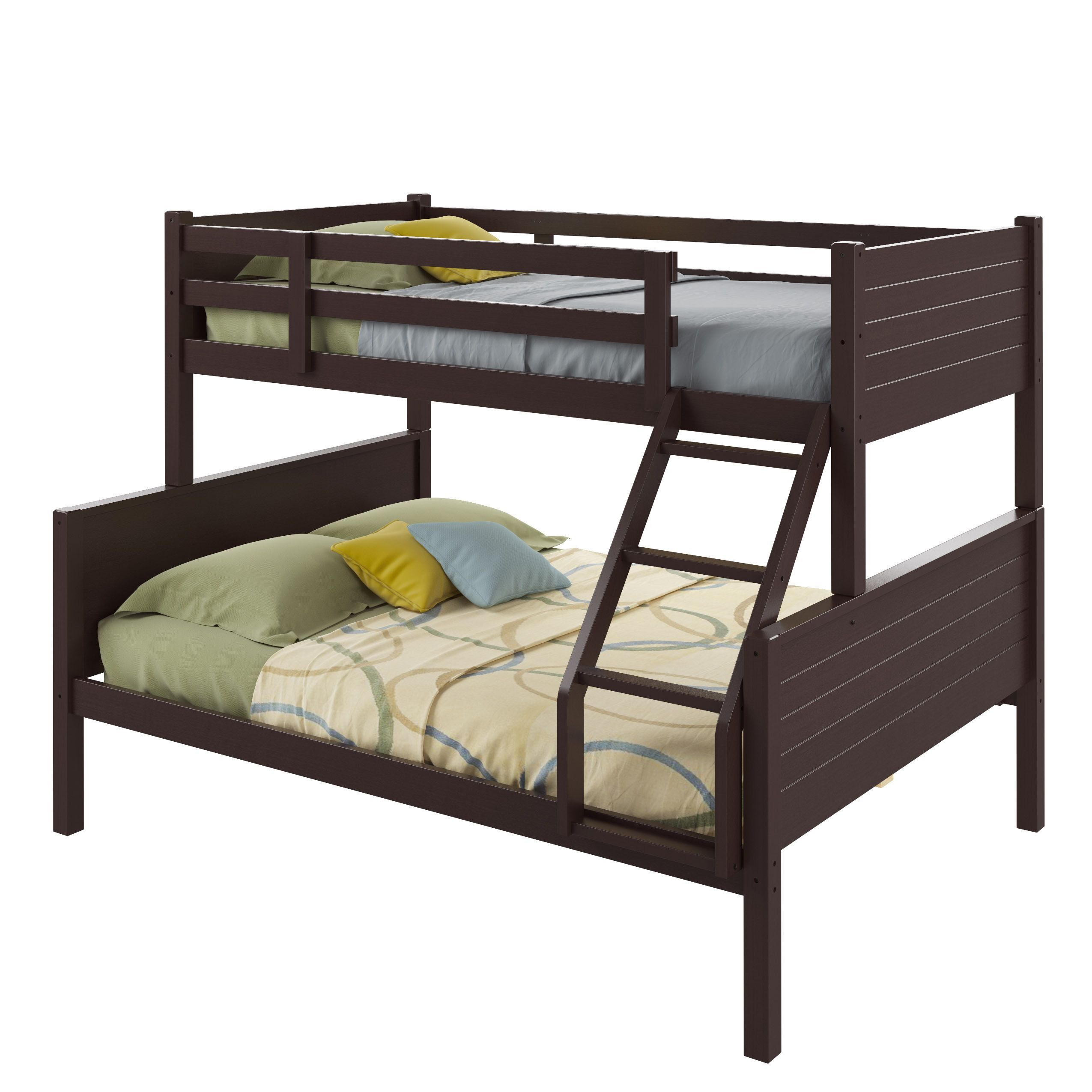 Twin over full loft bed with stairs  CorLiving Ashland TwinoverFull Bunk Bed Cappuccino  StainedWood