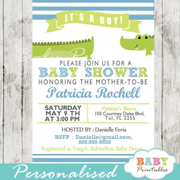 lime green & blue alligator baby shower invitation - d145 | boy, Baby shower invitations