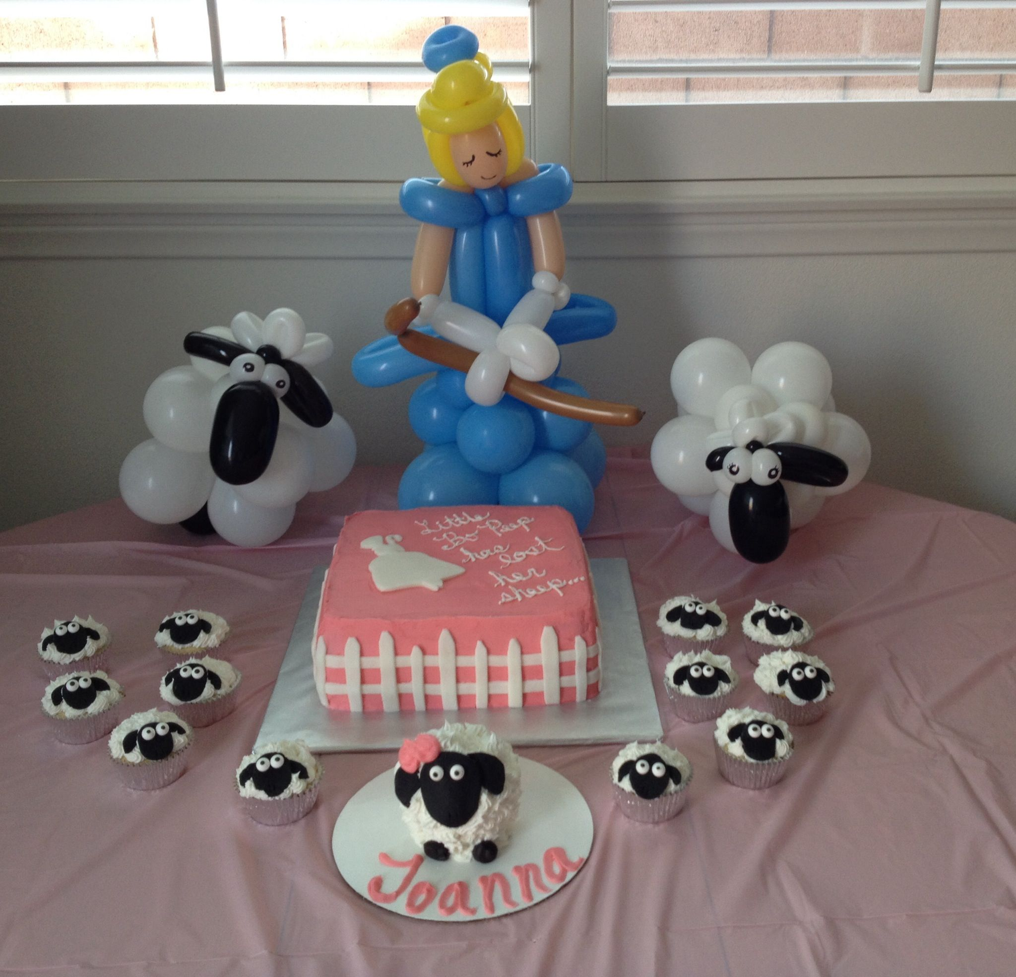 Little Bo Peep Cake Balloons Surrounded By Cupcakes And