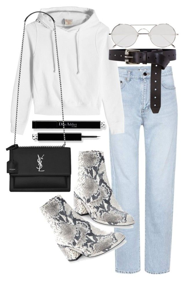 """""""WHENEVER YOU GET OVERWHELMED, BREAK IT DOWN"""" by florencia95 ❤ liked on Polyvore featuring Yves Saint Laurent, Vetements, Robert Clergerie, Linda Farrow and Karen Millen"""