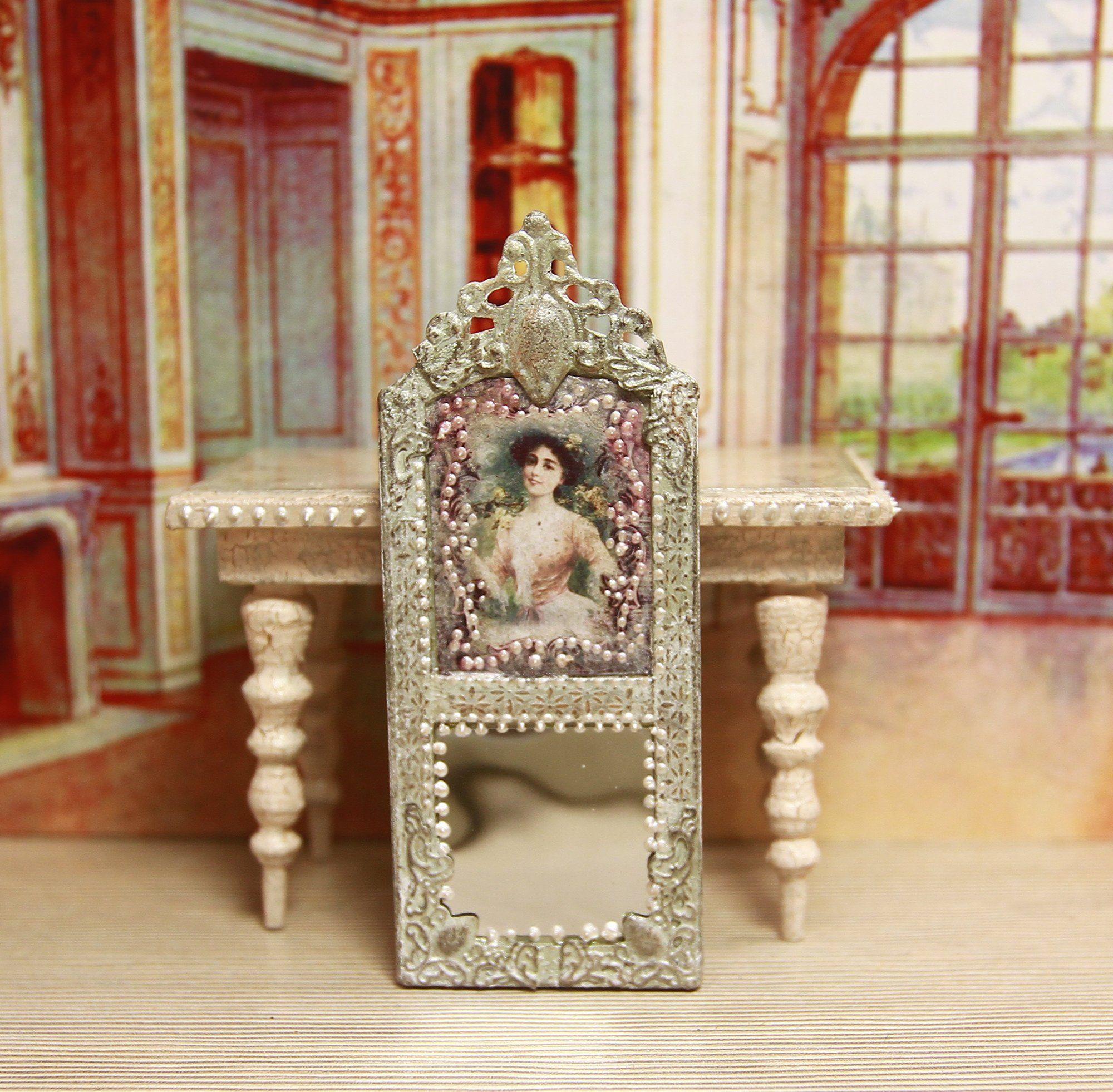 Vintage Dollhouse miniature 1:12 ornate mirrored DresserLight Pine