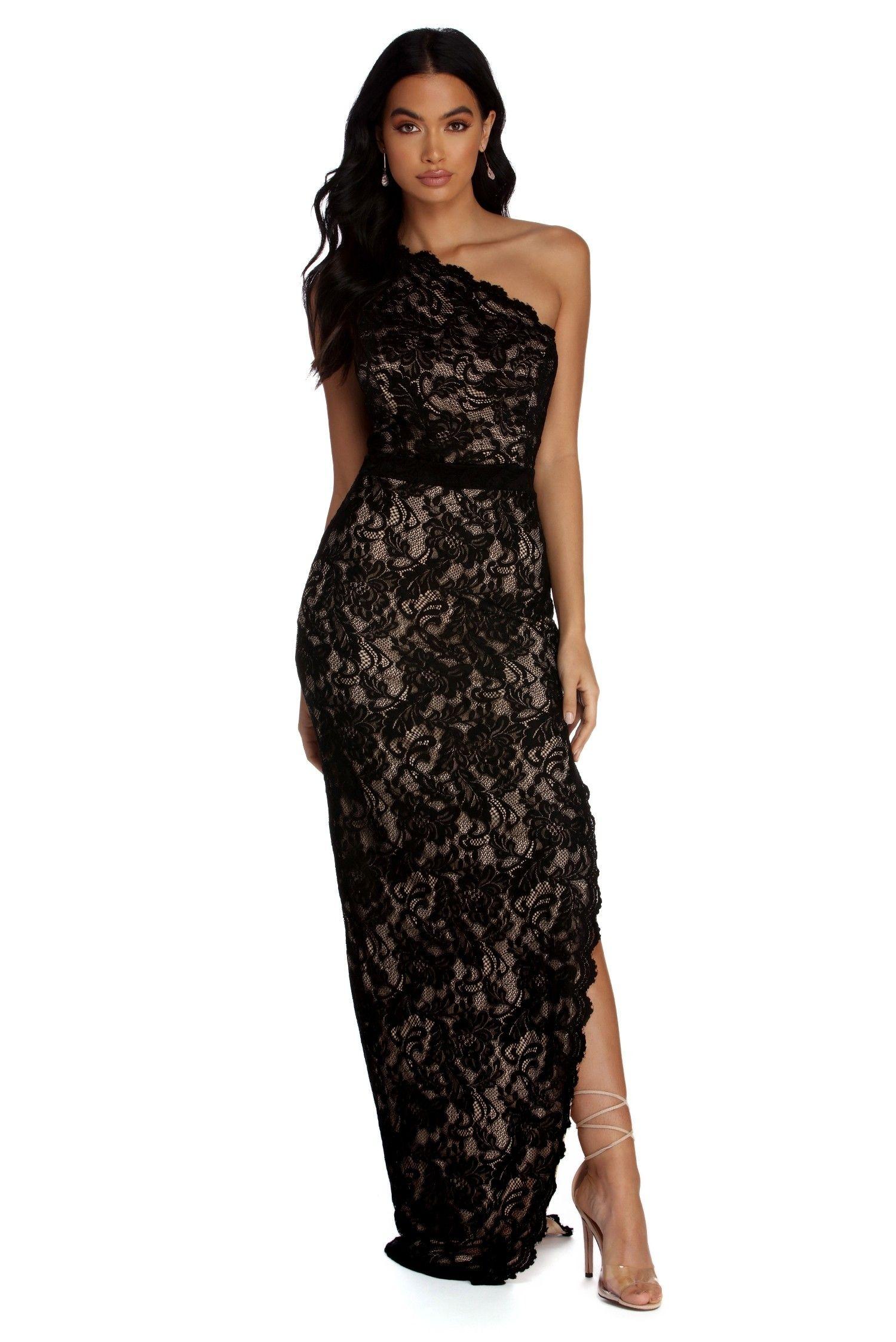 Nina Formal One Shoulder Lace Dress Black Lace Dress Long Lace Dress Black Tie Dress Wedding