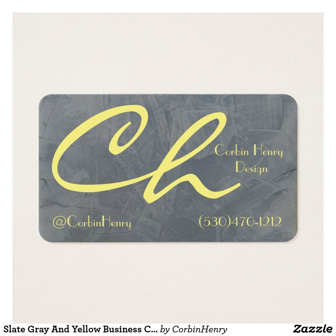Slate Gray And Yellow Business Cards | Pinterest