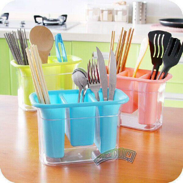 Kitchen Cutlery Chopstick Spoon Fork Storage Holder Drying Rack Basket Organizer