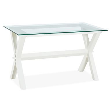 Ava Wood Desk - Antique White #potterybarn.  This is the desk I ordered for Katerina's bedroom.  The other desks were too big.  The glass top will be easier to clean off markers, nail polish, et cetera.