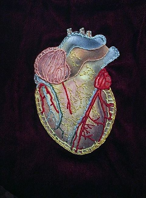 Rachel Harmeyer - Anatomical Heart - hand embroidered collage ...