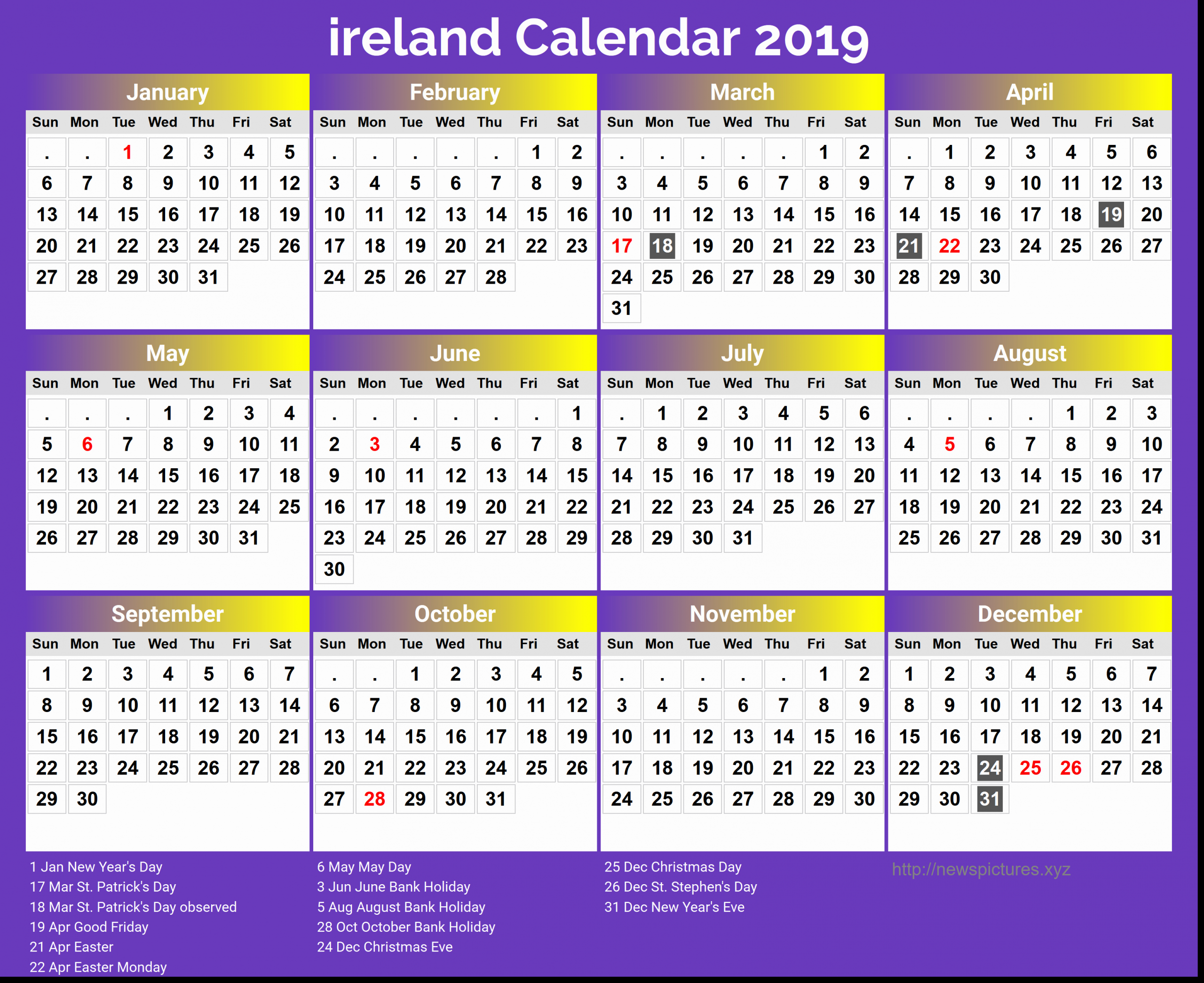 20+ Calendar 2021 Ireland - Free Download Printable ...
