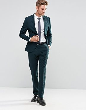 6e5837d384b9 Selected Homme Bottle Green Suit in Superskinny Fit with Stretch ...