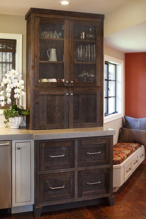 Best Dark Brown Rustic Screened Kitchen Cabinet Portola 640 x 480