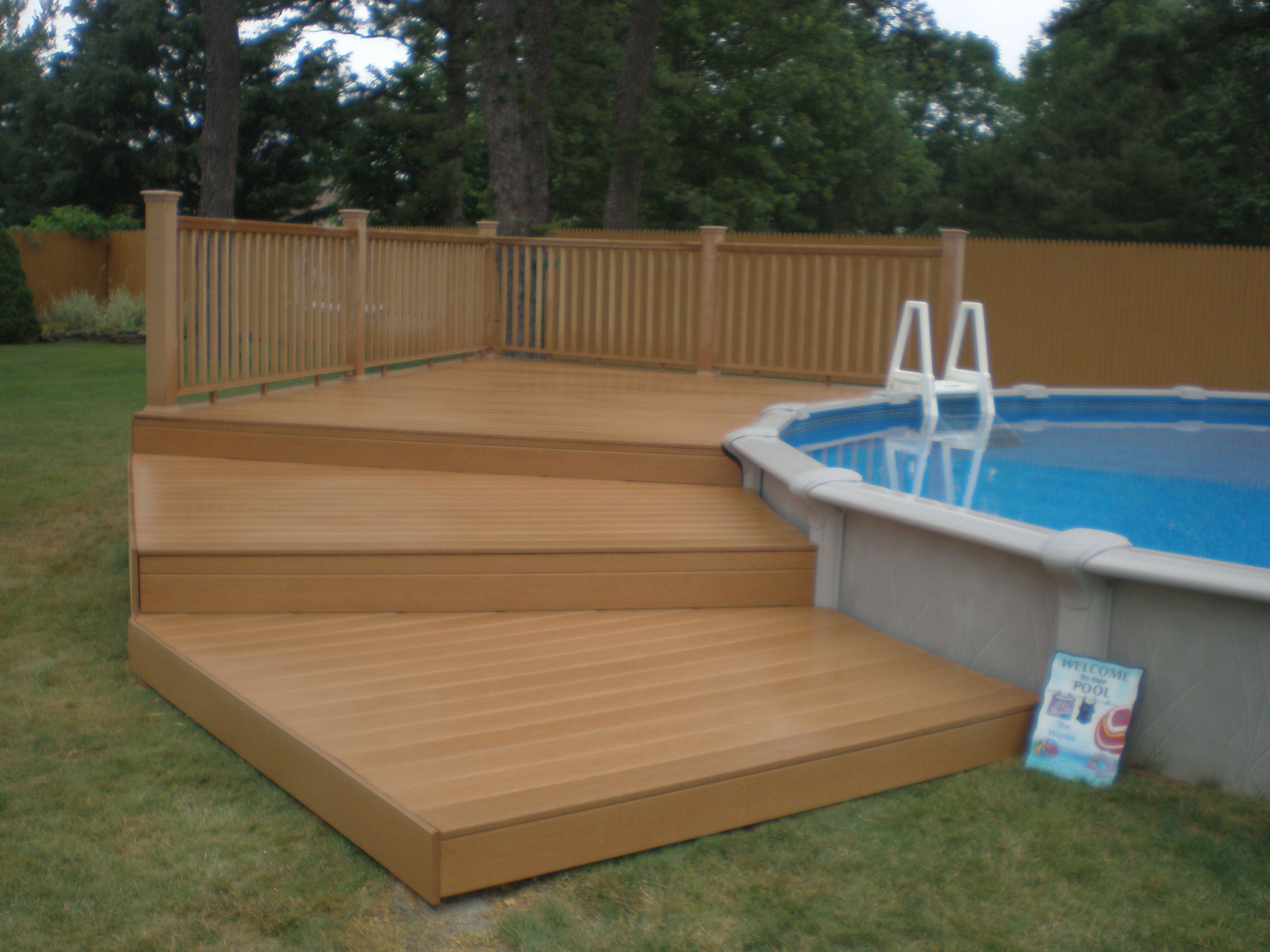 Sharkline pool with deck brothers 3 pools aboveground - Above ground pool deck ideas on a budget ...