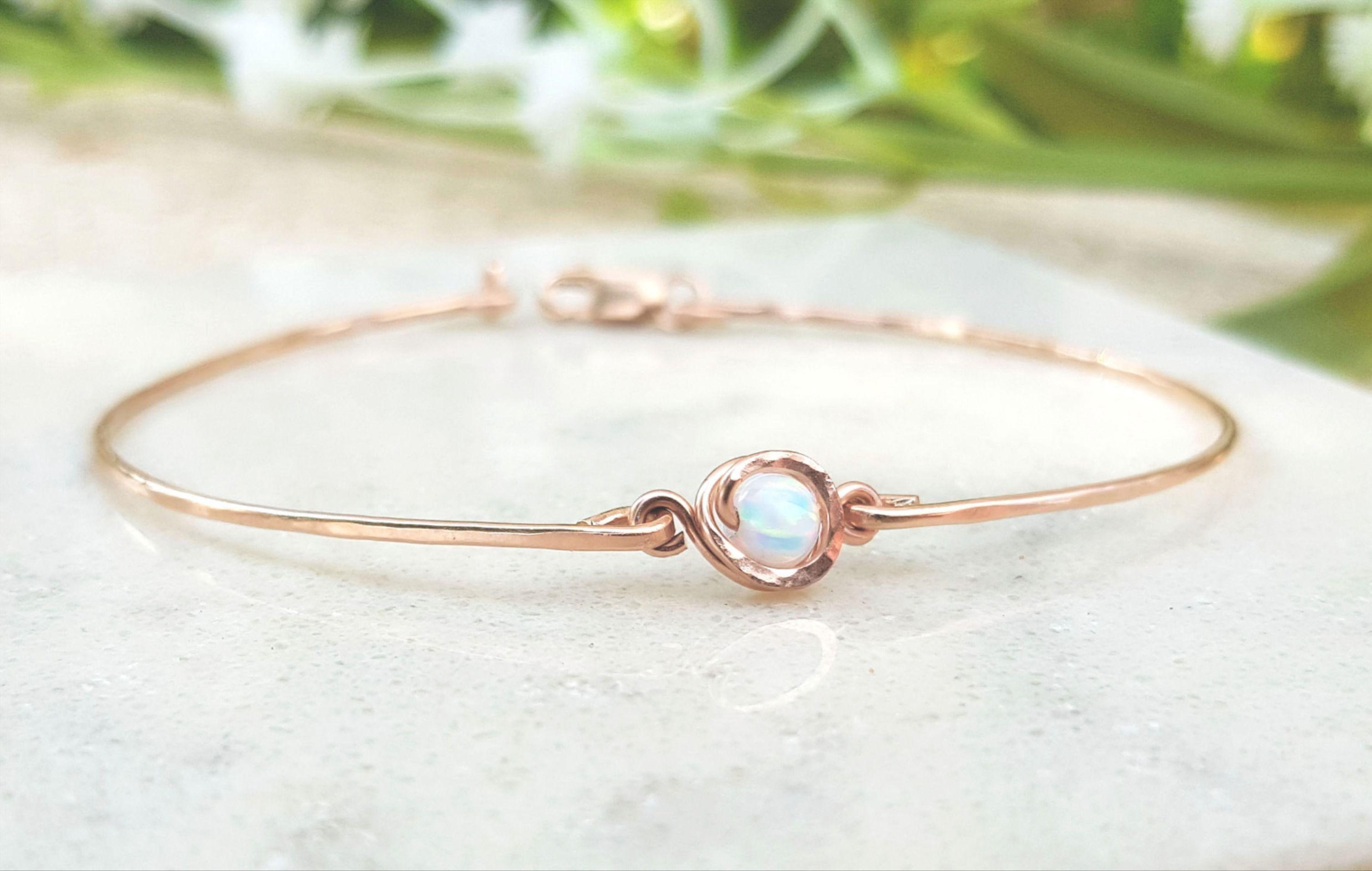 Wire Wrapped Bracelet,Gift For Women,White Opal Bracelet,White Gemstone Bracelet,14k Rose Gold Filled Bracelet,Delicate Bracelet,Tiny Stone