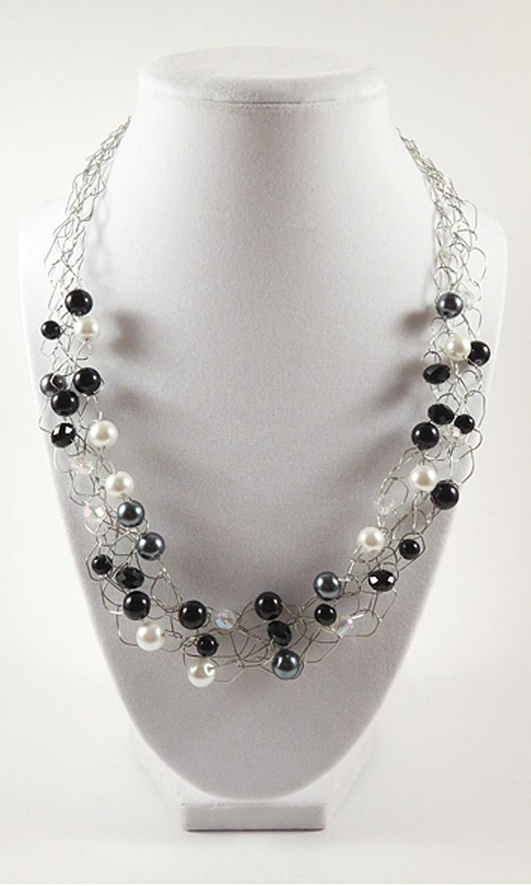 Black and White Necklace / Wire Crochet Necklace / Statement ...