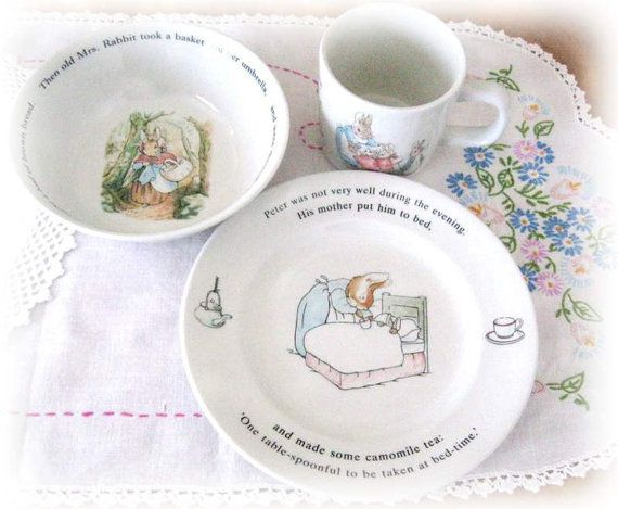 Vintage Wedgwood Peter Rabbit Nursery Set of 3, Beatrix Potter Collectible Cup/Mug, Plate, Bowl, England , 1991 New in Box