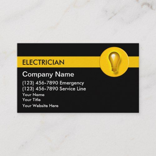Electrician Business Cards Zazzle Com In 2021 Business Card Template Design Visiting Card Design Electrician