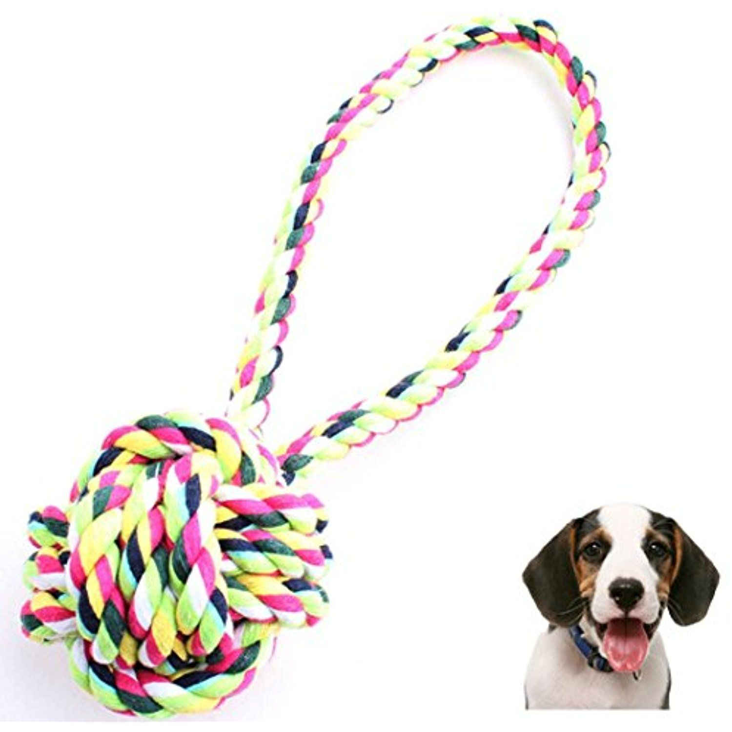 Kim88 Dog Throw Tug Pull Chew Toy Ball Rope New Dog Chew Toy Rope