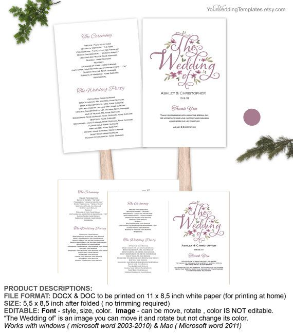 Modern rustic purple fan program template Script wedding program - Download Numbers Spreadsheet For Mac