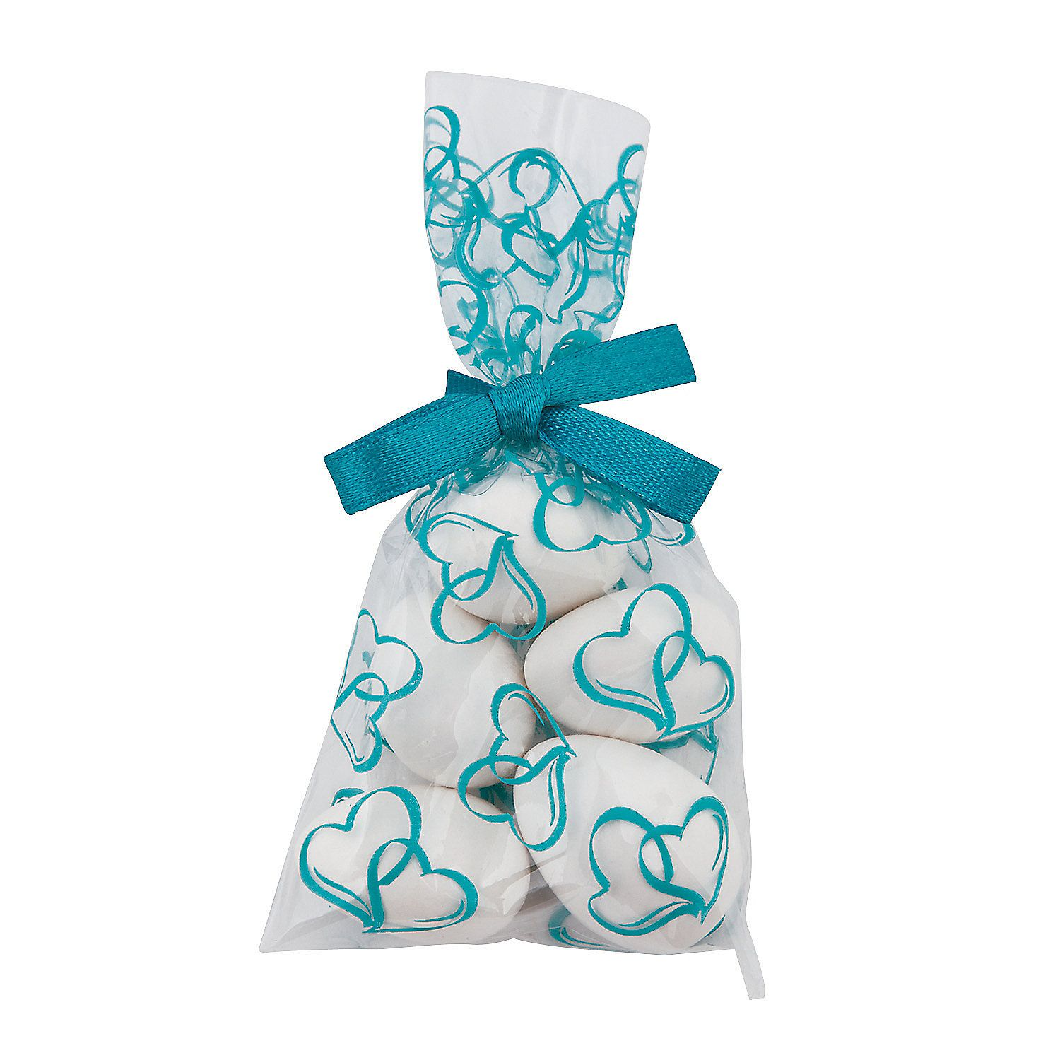 Mini Turquoise Two Hearts Cellophane Bags | Cellophane bags, Wedding ...