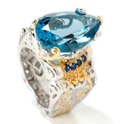 Gems en Vogue 12.32ctw Pear Shaped London Blue Topaz Ring