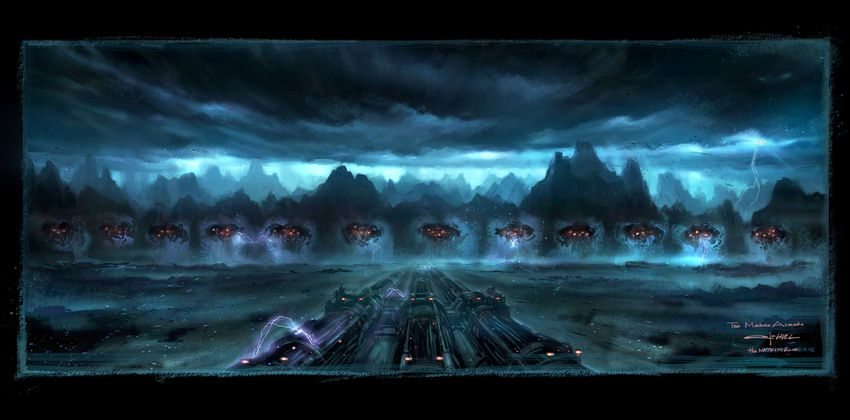 Deus Ex Machina Artificial Intelligence Meets Real: The Matrix Revolutions Concept Art By George Hull