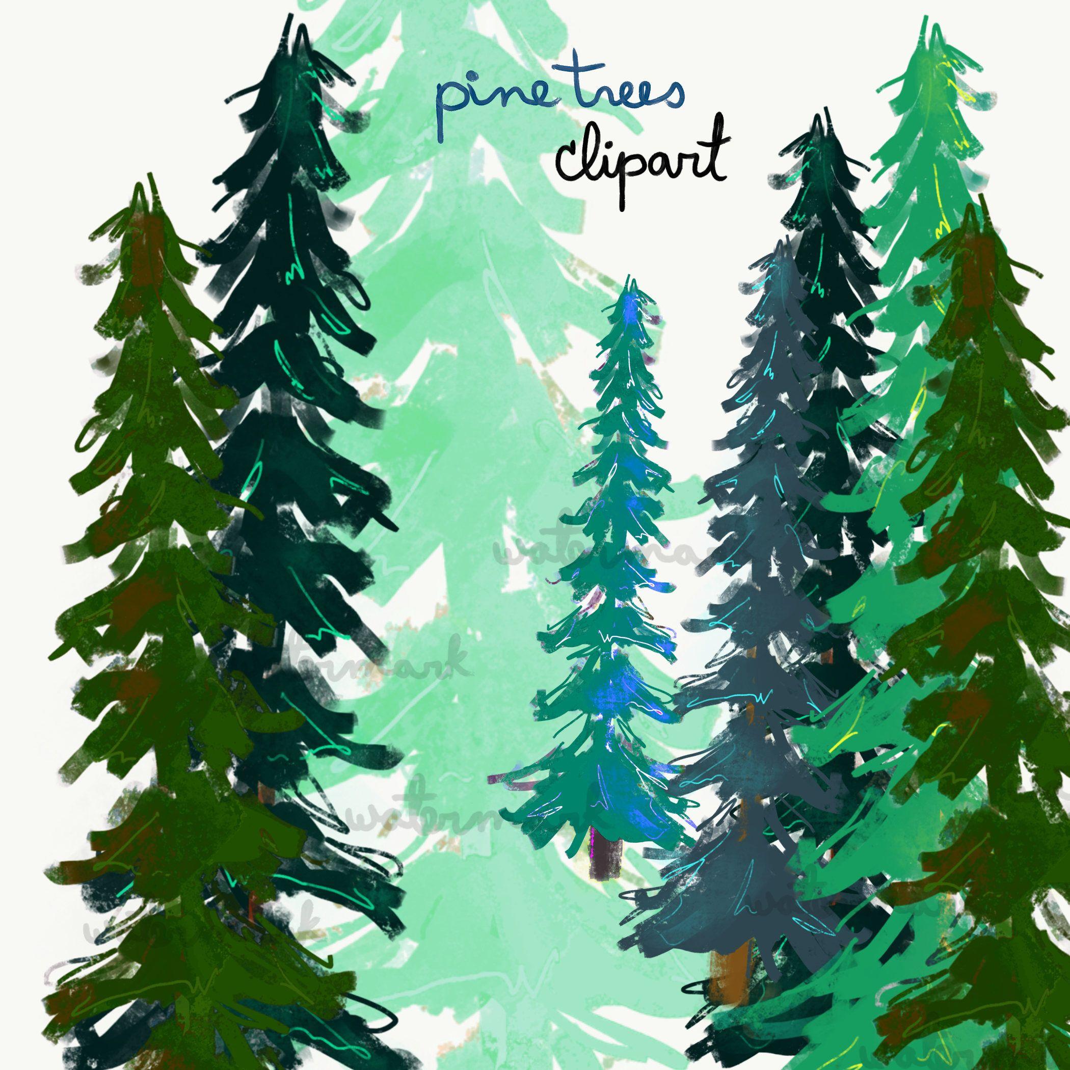Pine Tree Clip Art Elements Pine, Coniferous Trees Clipart Set