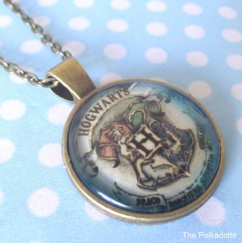 Blue Hogwarts School Crest Round Cabochon Necklace Pendant HP Harry Potter…