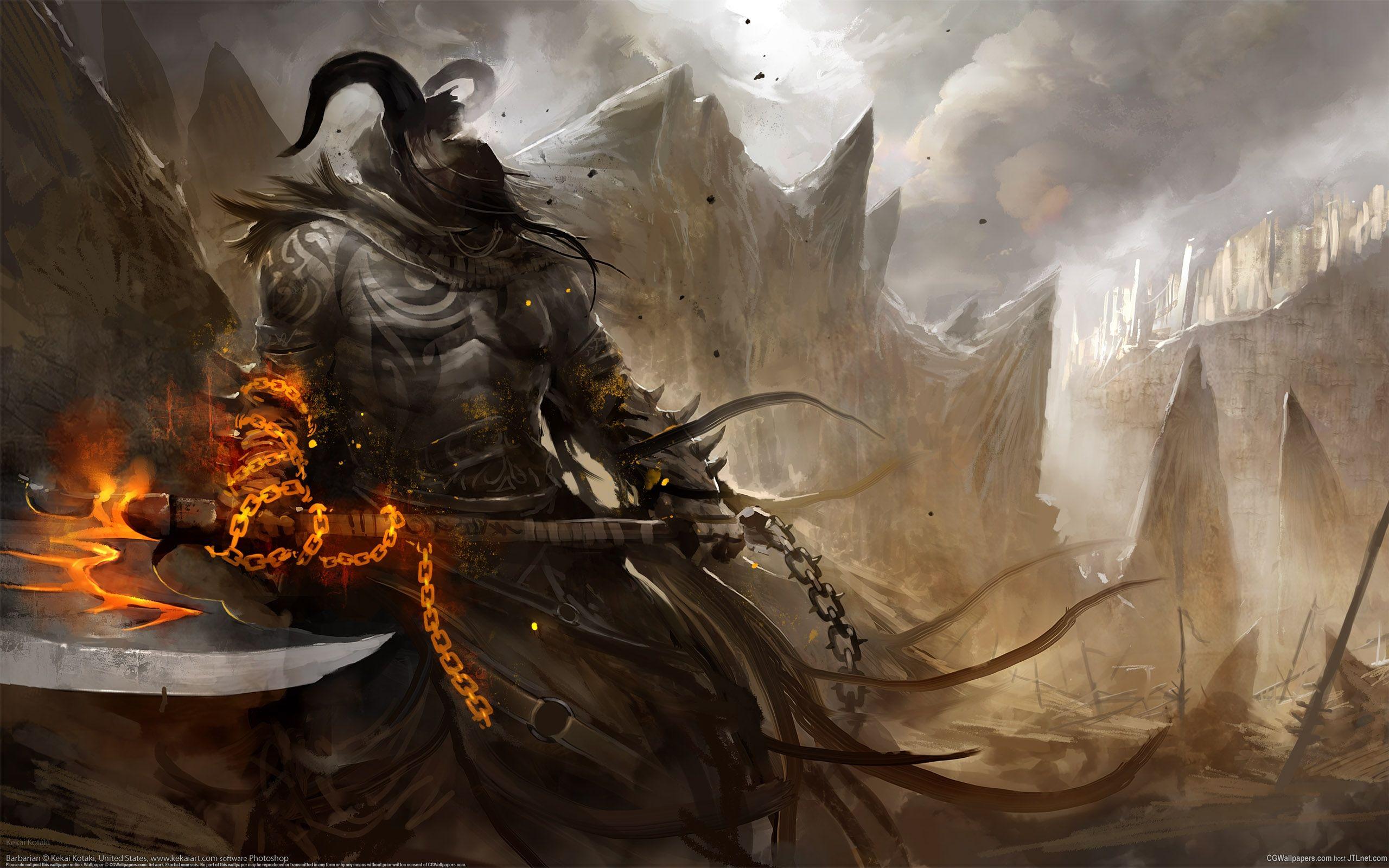 Axe Warrior Warriors Wallpaper Art Demon Art