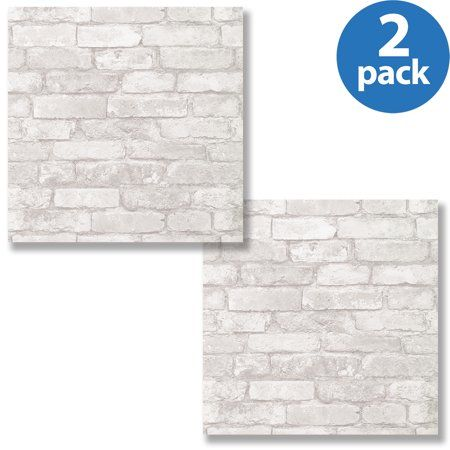 Peel and Stick Wallpaper, Grey and White Brick, 2pack