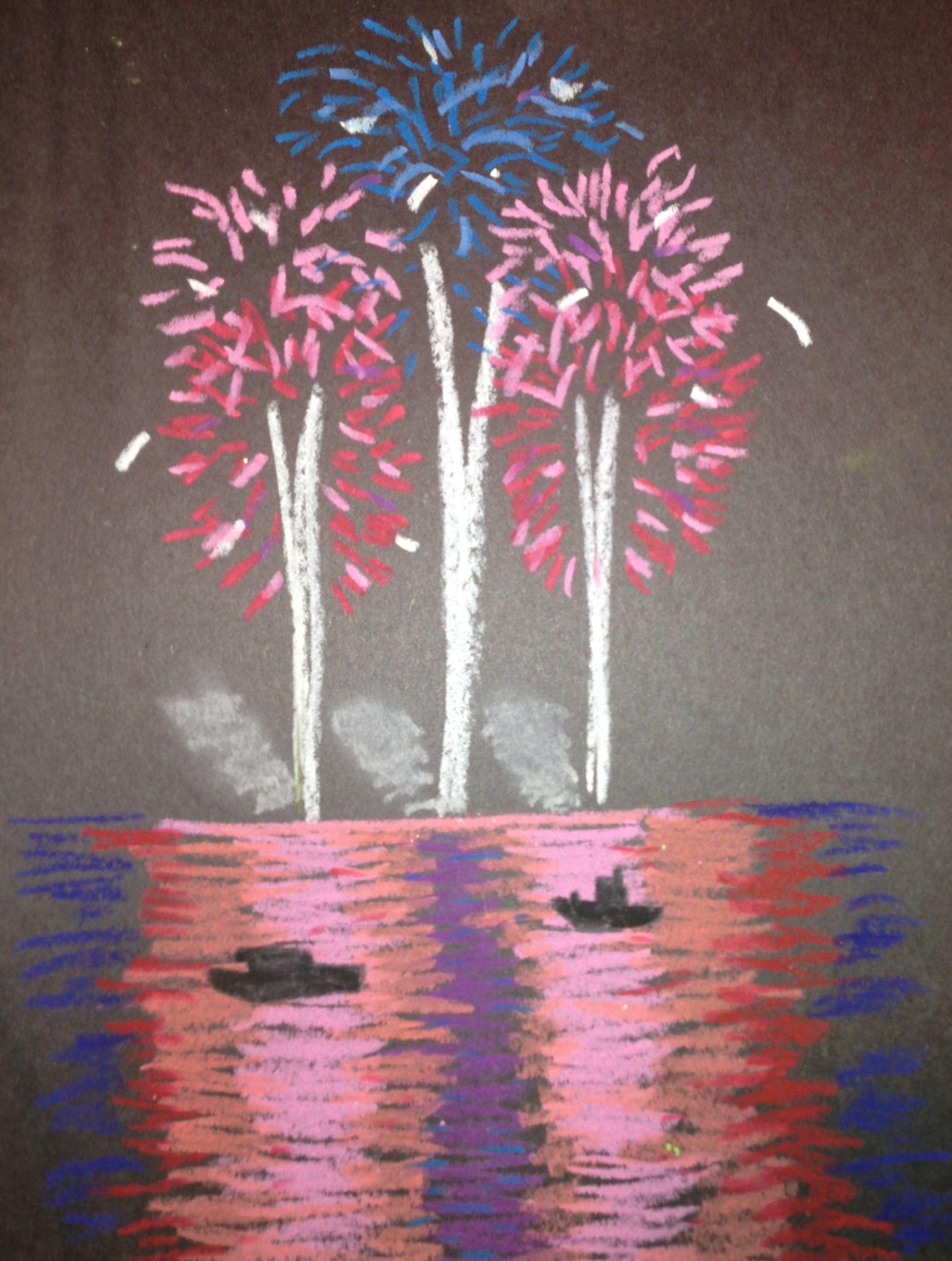 Nighttime fireworks. Oil pastel on black paper. Focused on direction ...