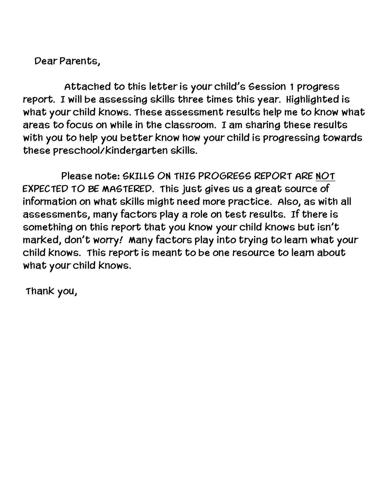 Letter To Parents About Evaluations  For The Classroom