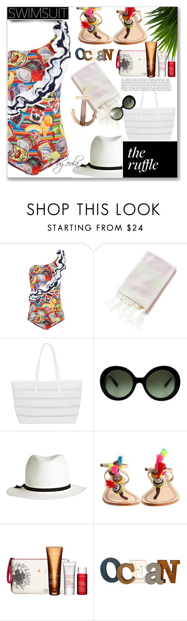 """Ruffled Up Swimwear"" by eula-eldridge-tolliver ❤ liked on Polyvore featuring Stella Jean, BUCO, Anja, Prada, Calypso Private Label, Malìparmi and Clarins"