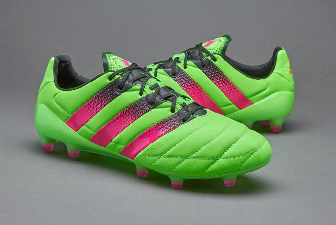 e534ceaa2293 adidas ACE 16.1 FG/AG Leather - Solar Green/Shock Pink/Core Black ...