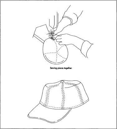 The baseball cap is sewn on an industrial grade sewing